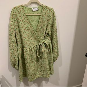 Spring Green Wrap Dress with Flower Print